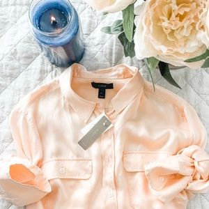 🦋NWT J. Crew Peach Silk Button Down Shirt 14